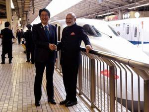 Narendra Modi and his Japanese counterpart Shinzo Abe on-board the Shinkansen