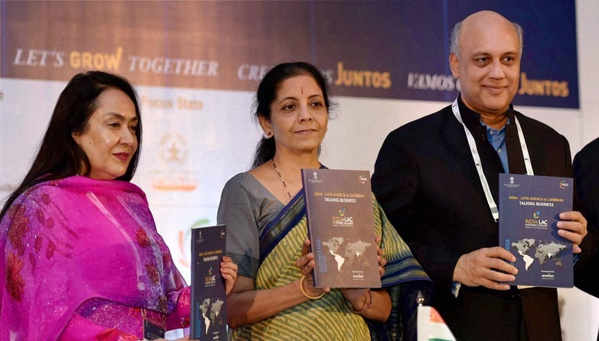 Minister of State, Commerce, Industry, Nirmala Sitharaman, FICCI President, Sidharth Birla, FICCI, Senior Vice President, Jyotsna Suri, release, FICCI-Accenture, Knowledge, Paper, INDIA-LAC, Investment, Conclave