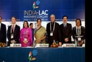 Minister of State, Commerce and Industry Nirmala Sitharaman with FICCI President Sidharth Birla, FICCI Senior Vice President Jyotsna Suri