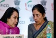 Minister of State for Commerce and Industry, Nirmala Sitharaman with FICCI Vice President Jyotsna Suri