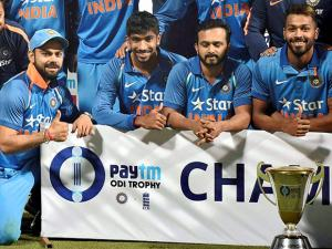 Indian captain Virat Kohli and others after winning the series after their third one day international cricket match against England at Eden Gardens