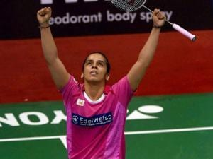 India's Saina Nehwal celebrates after her quarterfinal victory over Korean Hyun Sung Ji in the Yonex-Sunrise India Open 2016