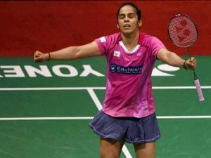 India's Saina Nehwal celebrates after her quarterfinal victory over Korean Hyun Sung Ji in the Yonex-Sunrise India Open 2016, in New Delhi