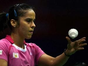 India's Saina Nehwal in action against Korean Hyun Sung Ji in the_quarterfinal of Yonex-Sunrise India Open 2016, in New Delhi