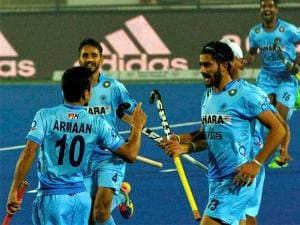 Indian team celebrate after beating  England by  5-3