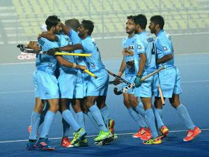 Indian team celebrate after beating  England by  5-3  during Jr. World Cup Hockey Tournament