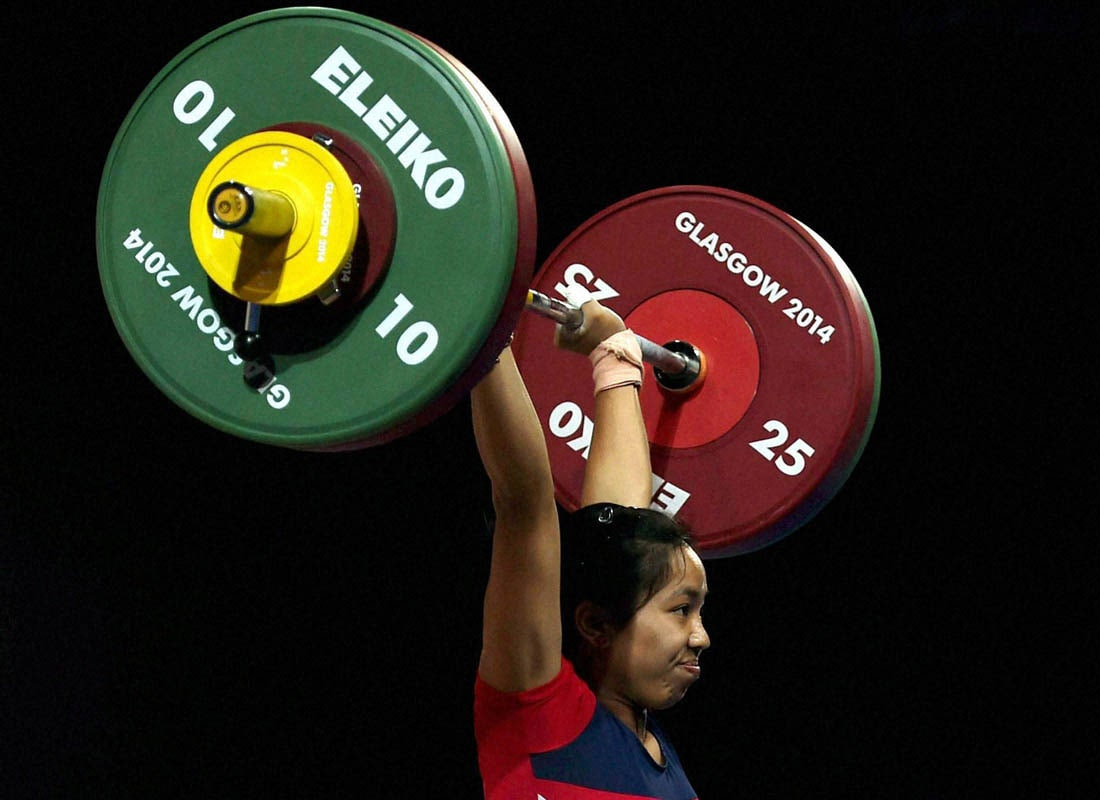 India's, Chanu Saikhom, completes, lift, 48-kg women's weightlifting, event, Commonwealth Games, Glasgow