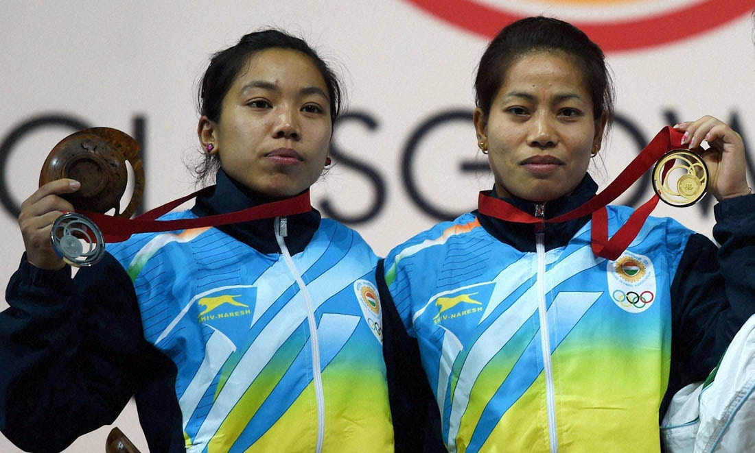 s got first gold medalist at the commonwealth games in s gold medalist sanjita khumukcham compatriot silver medallist chanu saikhom bronze