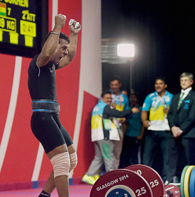 India's, Sukhen Dey, celebrates, winning, gold medal, 56-kg men's, weightlifting, event, Commonwealth Games, Glasgow