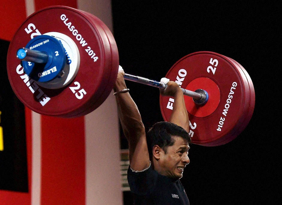 India's, Sukhen Dey, completes, lift, 56-kg men's, weightlifting, event, Commonwealth Games, Glasgow