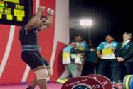 India's, Sukhen Dey, celebrates, winning, gold medal,56-kg men's, weightlifting, event, Commonwealth Games, Glasgow