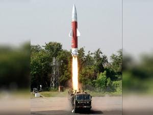 A view of the Target Missile used by DRDO in the successful test firing of the Advanced Area Defence Endo-Atmospheric Interceptor Missile
