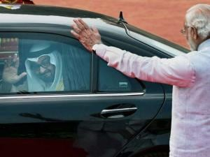 Prime Minister Narendra Modi waves to Sheikh Mohammed bin Zayed Al Nahyan, Crown Prince of Abu Dhabi as he leaves after his ceremonial reception at Rashtrapati Bhavan in New Delhi