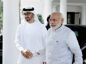Prime Minister Narendra Modi welcomes Sheikh Mohammed bin Zayed Al Nahyan, Crown Prince of Abu Dhabi at 7 RCR, in New Delhi