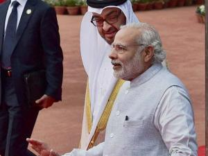 Prime Minister Narendra Modi with Sheikh Mohammed bin Zayed Al Nahyan, Crown Prince of Abu Dhabi during the ceremonial reception at Rashtrapati Bhavan in New Delhi