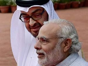 Prime Minister Narendra Modi with Sheikh Mohammed bin Zayed Al Nahyan, Crown Prince of Abu Dhabi during the ceremonial reception at Rashtrapati Bhavan_in New Delhi