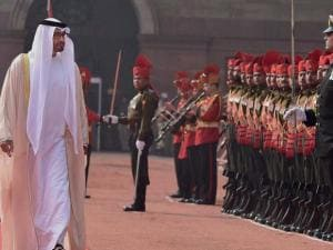 Sheikh Mohammed bin Zayed Al Nahyan, Crown Prince of Abu Dhabi inspects guard of honour during the ceremonial reception at Rashtrapati Bhavan in New Delhi