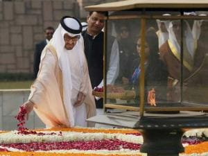 Sheikh Mohammed bin Zayed Al Nahyan, Crown Prince of Abu Dhabi pays tributes at Mahatma Gandhi's memorial Rajghat in New Delhi