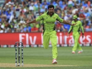 File Photo pakistan bowler sohail khan celebrates a wicket