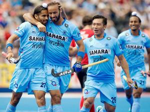 Indian  players during the Men's World Hockey League