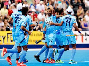 Indian team players during the Men's World Hockey League