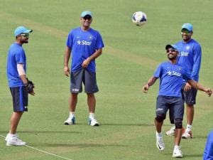 Captain M S Dhoni with Virat Kohli, Rohit Sharma and other teammates