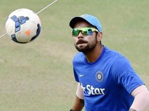 Cricketer Virat Kohli during the training session