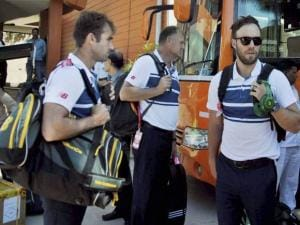 South African cricket team arrives at the HPCA hotel pavilion