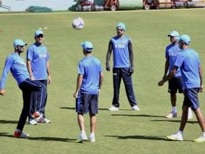Team India players during a practice session at International Cricket Stadium in Dharamsala