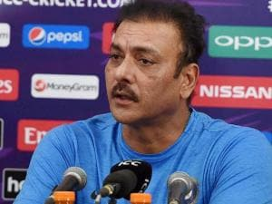 Indian cricket team director Ravi Shastri addresses the media ahead of the ICC World T20 semifinal match against the West Indies in Mumbai