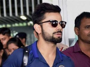 Cricketer Virat Kohli arrives at NSCBI Airport for the upcoming T 20 World Cup, in Kolkata