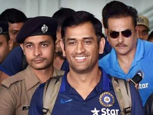 India's Captain M S Dhoni arrives at NSCBI Airport for the upcoming T 20 World Cup