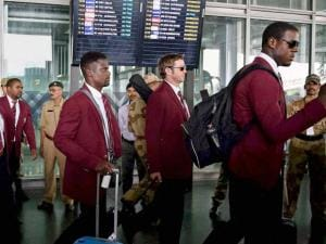West Indies cricketers arrive at NSCBI Airport for the upcoming T 20 World_Cup