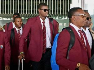 West Indies cricketers arrive at NSCBI Airport for the upcoming T 20 World Cup, in Kolkata