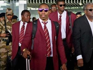 West Indies cricketers arrive at NSCBI Airport for the upcoming_T 20 World Cup, in Kolkata