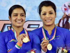 Gold medal winners India's NR Priyadarshini and Anu Chutia