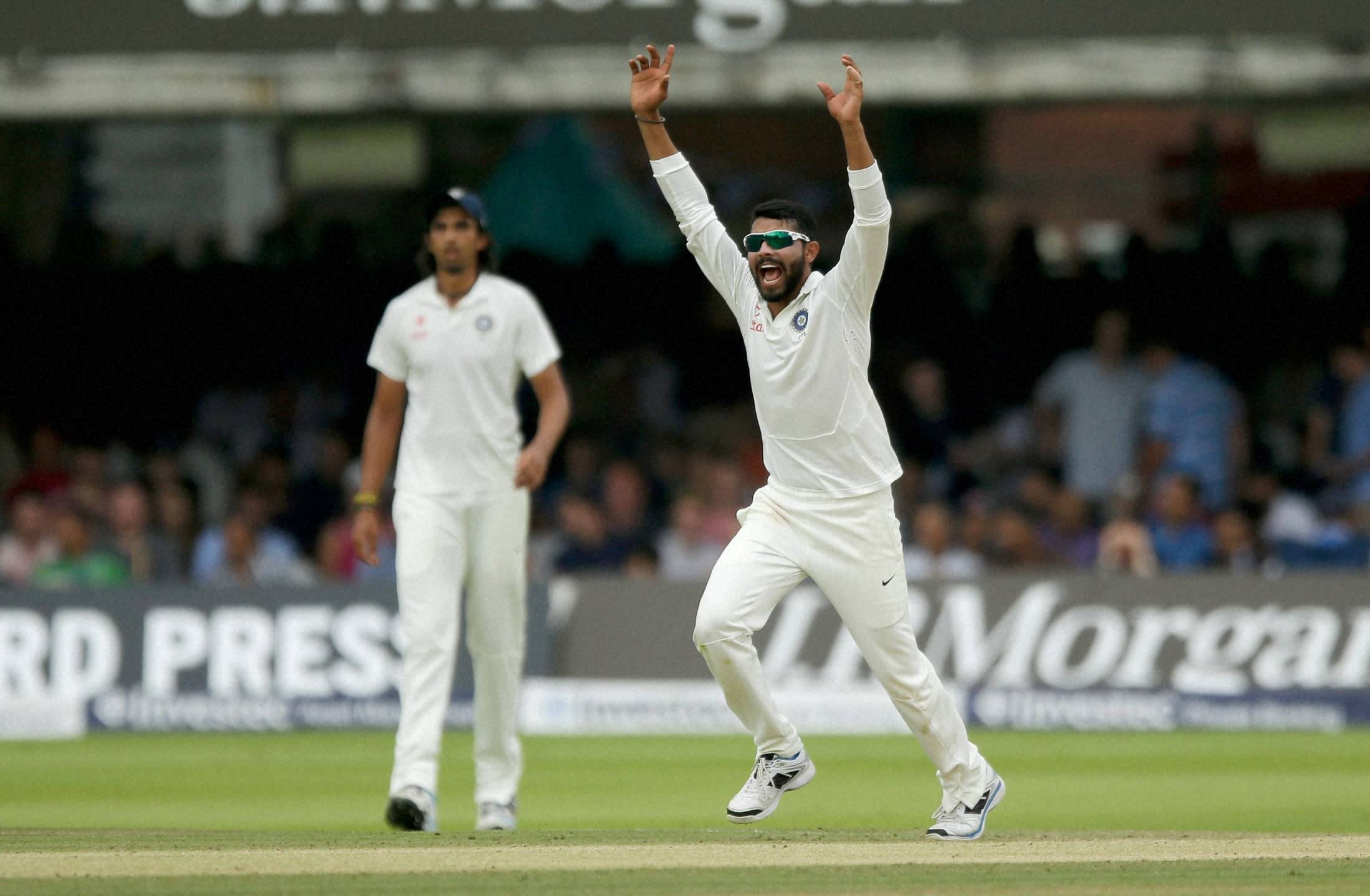 India's Ravindra Jadeja, unsuccessful, wicket, appeal, pitching, delivery, fifth day, second cricket, test match, England, India, Lord's, cricket, ground, London