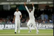 India's Ravindra Jadeja makes an unsuccessful wicket appeal after pitching a delivery