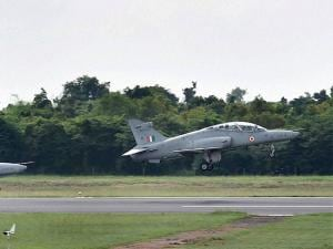 advanced jet trainer Hawks take off as a part of a show at Kalaikunda airbase