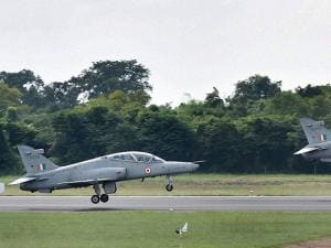 advanced jet trainer Hawks take off as a part of a show at Kalaikunda airbase ahead of Air Force Day