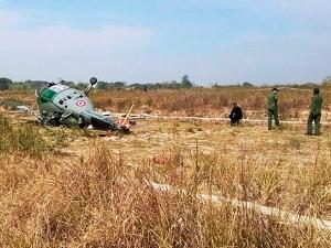 Rescue work in progress after an Indian Air Force Chetak helicopter toppled