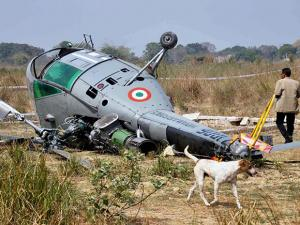 Rescue work in progress after Indian Air Force Chetak helicopter toppled while attempting to land in Kathula Gospur village
