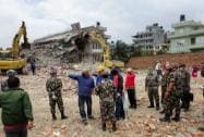 Army personnel and locals during the rescue work in an earthquake-hit region in Nepal
