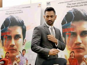 Mahendra Singh Dhoni at a press conference on his biopic movie, in New York City
