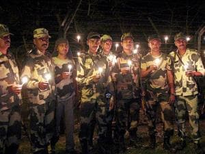 Border Security Force (BSF) personnel light candles to pay tribute to soldiers Ek Diya Shaheedon ke Naam on the eve of Diwali festival