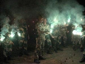 SF jawans celebrating Diwali  near the India-Bangladesh border