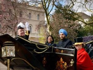Indian High Commissioner to the UK, Navtej Sarna, arrives at his London residence in a horse-drawn carriage from Buckingham Palace after presenting his credentials to Queen Elizabeth II