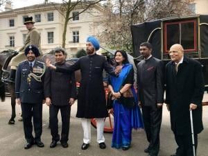 Newly appointed India's High Commissioner to the UK Navtej Sarna arrives at his London residence in a horse-drawn carriage from Buckingham Palace
