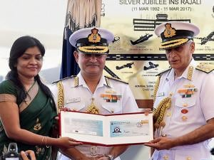 Navy Chief Admiral Sunil Lanba and Postmaster General ( Chennai City Region) Radhika Chakravarthy release the postage cover on 'Silver Jublee-INS Rajali'