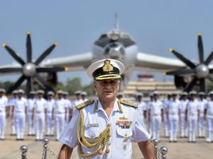 Navy Chief Admiral Sunil Lanba at the de-induction of India's long range maritime patrol aircraft, TU-142 M
